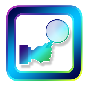 icon, magnifying glass, hand